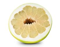 Half of pomelo isolated on white with clipping Royalty Free Stock Image