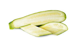 Half and portion cut fresh Zucchini on white Stock Photo