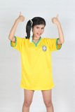 Half Portrait Beautiful woman with wearing Brazil football top,t Royalty Free Stock Images