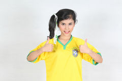 Half Portrait Beautiful woman with wearing Brazil football top,t Royalty Free Stock Image