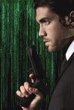 Half portrait of a seductive cyber spy Royalty Free Stock Image
