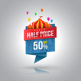 Half price banner with circus.
