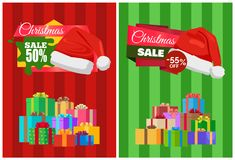 Half Price Christmas Sale Poster Wrapped Presents. Half price off Christmas sale 55 poster wrapped presents, promo label Santas hat vector illustration discount Stock Images