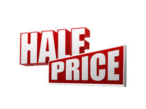 Half price in 3d letters and block Royalty Free Stock Photo