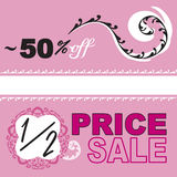 Half Price Fifty Percent Off Sale Logos. Half price and fifty percent off sale logos in pink and white design with ornate elements, swirl, border. Focus on women Royalty Free Stock Photo
