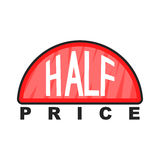 Half price label icon, cartoon style Stock Image