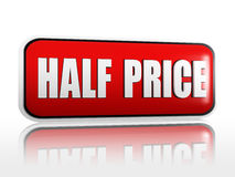 Half price in red banner Royalty Free Stock Photos