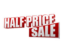 Half price sale in 3d letters and block Royalty Free Stock Image