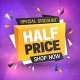 Half price sale banner. Hot super offer, 50 off discount. Big savings vector promotion flye royalty free illustration