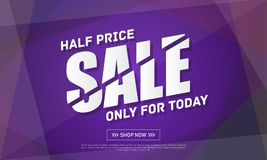 Half price sale Banner Template Design. Sale and discount. Vector Illustration royalty free illustration
