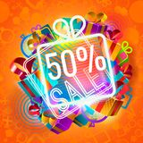 Half-price sale and gifts. Pile of colorful gift boxes and 50 percent sale announcement on red background Stock Image