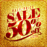 Half price sale mock up design, 50% off. Rich and fashion vector illustration Royalty Free Stock Images