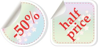 Half price sale stickers set Stock Photos