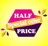 Half price sale - text in pink and Purple drawn label stock illustration