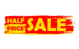 Half price sale, yellow and red drawn label Royalty Free Stock Photo