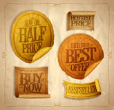 Half price savings, hottest price, best offer, buy now, sale stickers  Stock Image