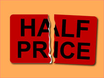 Half price sticker vector Stock Photos