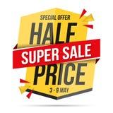 Half Price Super Sale Banner Stock Images