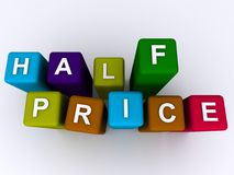 Half price. Text graphics on colorful blocks with white background stock photos