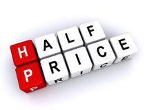 Half price text. Phrase 'half price' in individual letters on red and white dice shaped squares, isolated on a white background Stock Image