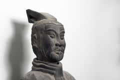 Half profile of Chinese terracotta warrior statue face Royalty Free Stock Images