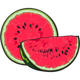 Half and quarter of ripe red watermelon with black seeds Royalty Free Stock Image