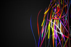 Half Rainbow Strands Line Glow Dark Background Stock Photography