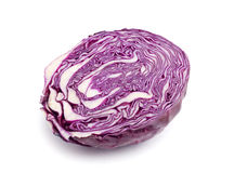 Half red cabbage. On a white background royalty free stock photos