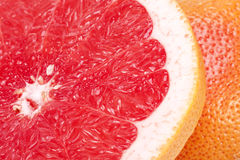 Half of red fruit of grapefruit , close up Stock Image