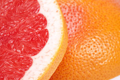 Half of red fruit of grapefruit , close up Stock Photo