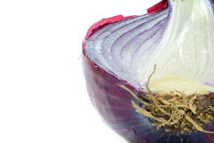 Half red onion, close up shot isolated on white Stock Photo