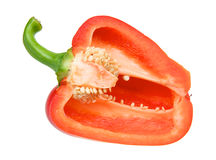 Half a red pepper isolated over white Royalty Free Stock Photography