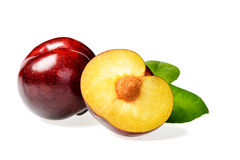 Half of red plum Royalty Free Stock Photos