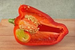 Half of red sweet pepper Royalty Free Stock Image