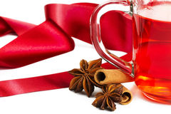 Free Half Red Tea Cinnamon Anise And Red Ribbon Stock Photo - 15556790