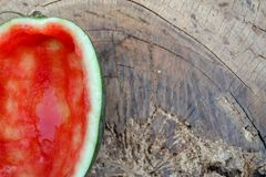 Half of the red watermelon was eaten royalty free stock photo