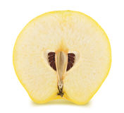 Half of ripe apple-quince isolated. On a white Royalty Free Stock Photography