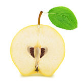 Half of ripe apple-quince with leaf isolated. On a white Stock Image