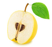 Half of ripe apple-quince with leaf isolated. On a white Stock Images