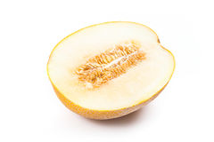 Half honeydew melon tropical fruit isolated on a white backgroun Royalty Free Stock Photography