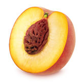 Half of Ripe Peach Isolated on White Background Stock Photo