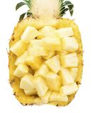Half of ripe pineapple. With choped pulp isolated on white background Stock Photos