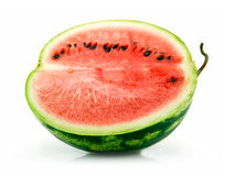 Half of Ripe Sliced Green Watermelon Isolated Stock Photography