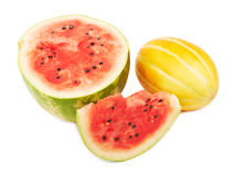 Half of ripe watermelon and melon fruit Stock Images
