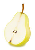 Half of ripe yellow pear with leaf isolated. On a white stock image