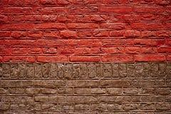 Half Rode en half Bruine Bakstenen muurtextuur Royalty-vrije Stock Afbeelding