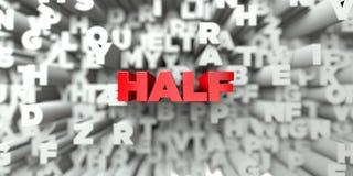 HALF - Rode tekst op typografieachtergrond - 3D teruggegeven royalty vrij voorraadbeeld Stock Foto