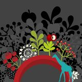 Half round banner with flora and giraffe. Stock Images