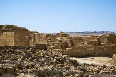 Half-ruined buildings on excavations in the Nabatean city of Mamshit. Israel, the first century BC Royalty Free Stock Images