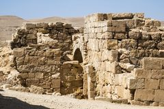 Half-ruined buildings on excavations in the Nabatean city of Mamshit. Israel, the first century BC Royalty Free Stock Image